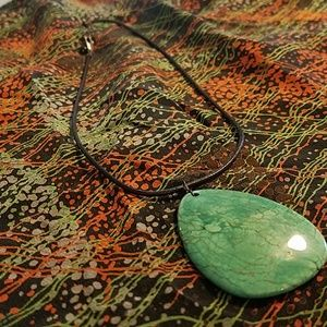 Turquoise and letter teardrop Stone necklace